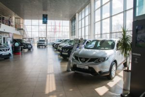 cars in the showroom